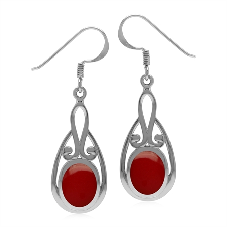 Vintage Inspired 925 Sterling Silver Drop Dangle Earrings with Created Red Coral
