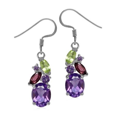 Amethyst Rhodolite Garnet and Peridot 925 Sterling Silver Colorful Dangle Earrings
