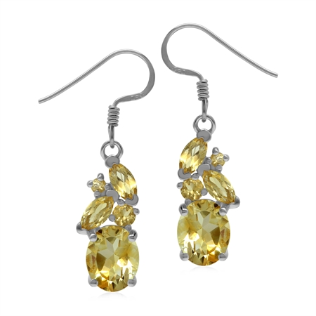 Genuine 5 Ctw Yellow Citrine 925 Sterling Silver Cluster Dangle Earrings