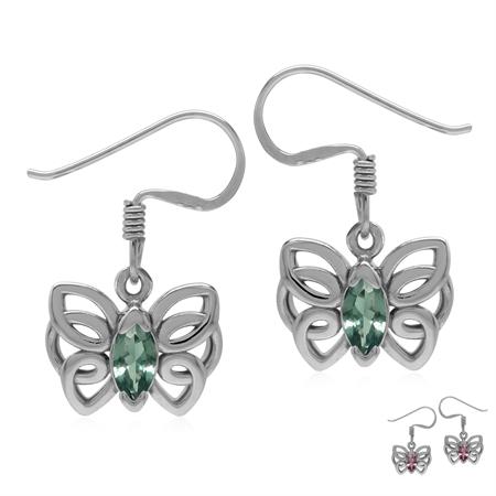Created Color Change Alexandrite 925 Sterling Silver Butterfly Dangle Hook Earrings