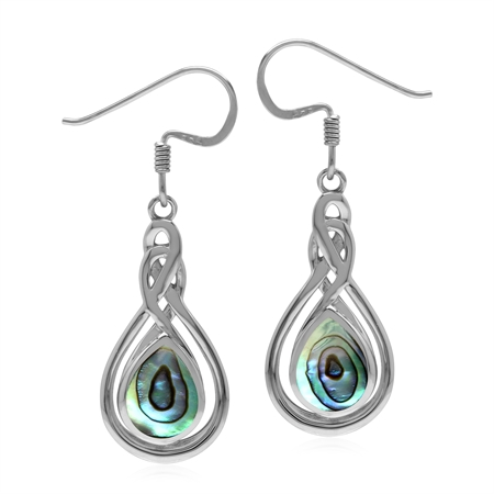 Celtic Style 925 Sterling Silver Dangle Hook Drop Earrings with Abalone Paua Shell