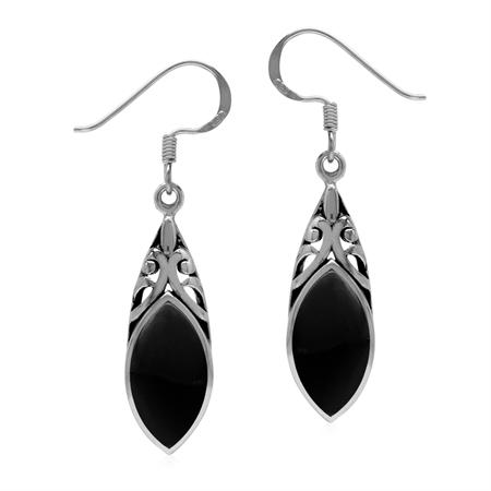 14x7MM Natural Marquise Shape Black Onyx 925 Sterling Silver Filigree Dangle Hook Earrings