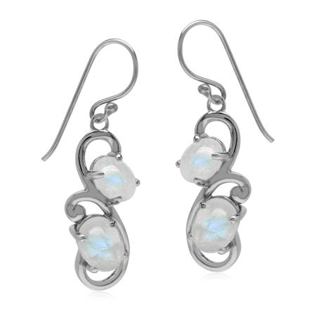 Natural 5.4 Ctw Rainbow Moonstone 925 Sterling Silver Swirl Dangle Hook Earrings