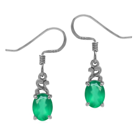 1.5 Ctw Oval 7x5MM Emerald Green Agate 925 Sterling Silver Victorian Style Dangle Hook Earrings