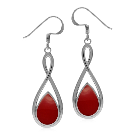 Created Red Coral 925 Sterling Silver Eternity Knot Dangle Drop Earrings