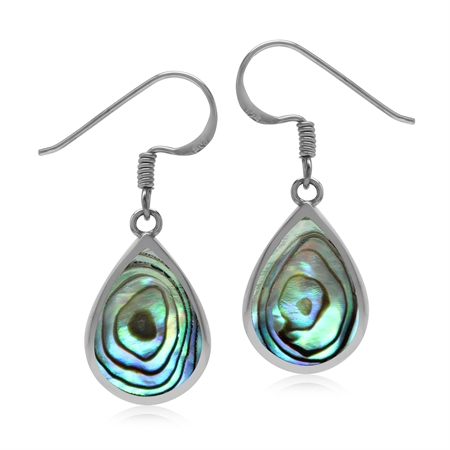 Drop Shape 14x10 mm Abalone Paua Shell Inlay 925 Sterling Silver Dangle Hook Summer Earrings