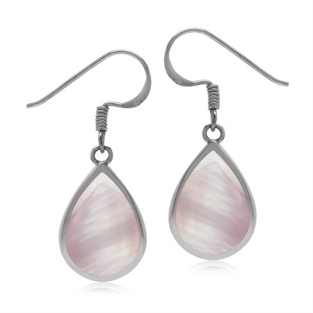 Drop Shape 14x10 mm Pink Mother of Pearl Inlay 925 Sterling Silver Dangle Hook Summer Earrings