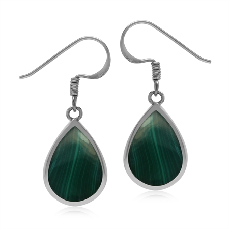 Drop Shape 14x10 mm Green Malachite 925 Sterling Silver Dangle Summer Earrings
