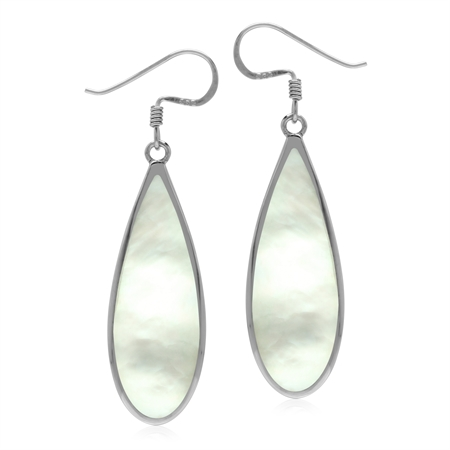 30x10 mm White Mother Of Pearl Inlay 925 Sterling Silver Dangle Hook Drop Business Earrings