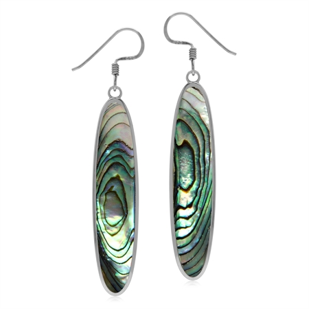 40*8 mm Abalone Paua Shell Inlay 925 Sterling Silver Dangle Hook Long Slim Earrings