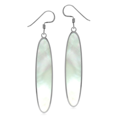 40*8 mm White Mother Of Pearl Inlay 925 Sterling Silver Dangle Hook Long Slim Earrings
