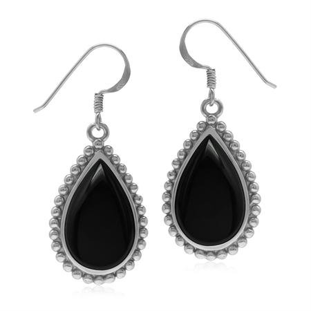 Natural Drop Shape Black Onyx 925 Sterling Silver Dangle Hook Balinese Style Bead Patern Earrings