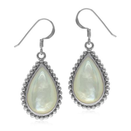 Drop Shape White Mother Of Pearl 925 Sterling Silver Dangle Hook Balinese Style Bead Patern Earrings