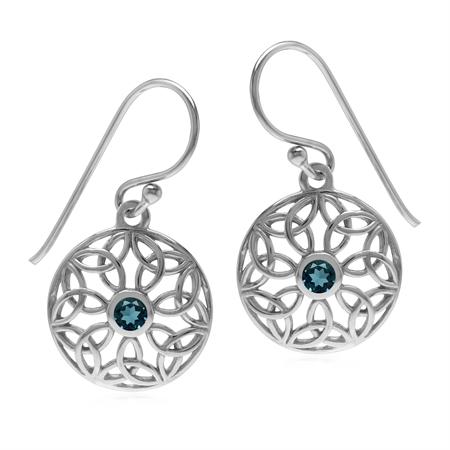 Genuine London Blue Topaz 925 Sterling Silver Triquetra Celtic Knot Circle Dangle Hook Earrings
