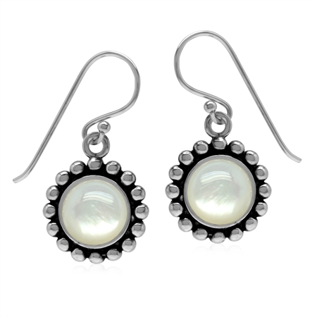 Natural 8MM White Mother Of Pearl 925 Sterling Silver Bead Ball Pattern Dangle Earrings
