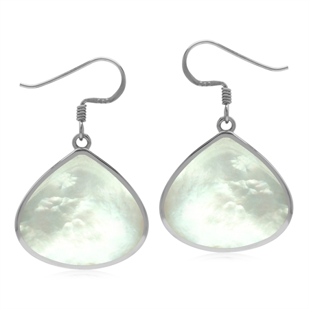 Natural 20x18 mm White Mother Of Pearl 925 Sterling Silver Drop Shape Dangle Hook Earrings