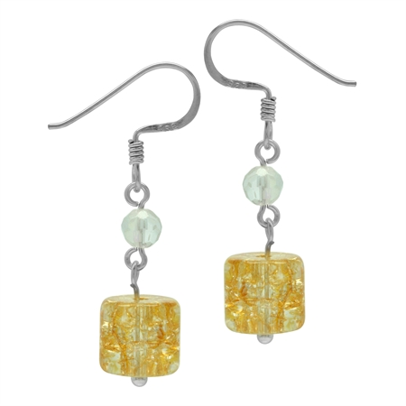 Yellow Glass Cube 925 Sterling Silver Dangle Hook Earrings