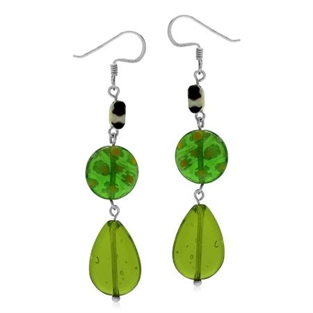Green Millefiori Glass 925 Sterling Silver Graduate Dangle Drop Hook Earrings