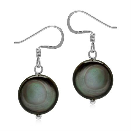 Black Mother Of Pearl Disc 925 Sterling Silver Dangle Hook Earrings