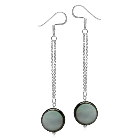 Black Mother Of Pearl Disc 925 Sterling Silver Dangle Chain Hook Earrings