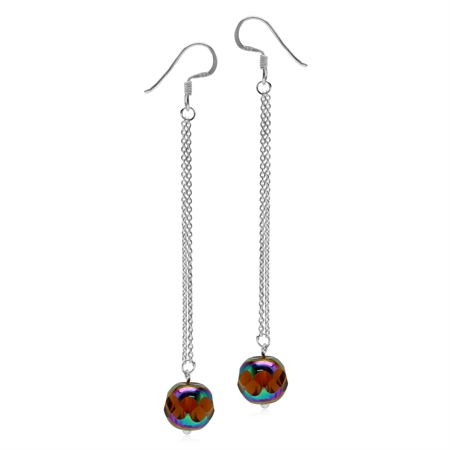 Rainbow Tea Color Glass 925 Sterling Silver Dangle Chain Hook Earrings