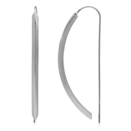 Modern Scratch Finish Curve Bar 925 Sterling Silver Threader Wire Earrings