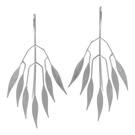 Modern Scratch Finish Fan Shape Leaves 925 Sterling Silver Threader Wire Earrings