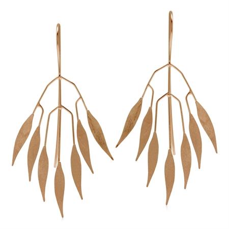 Modern Scratch Finish Fan Shape Leaves Rose Gold Flash 925 Sterling Silver Threader Wire Earrings