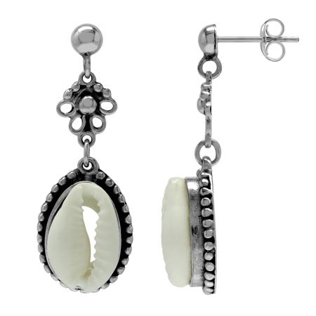 Imitation Cowry Sea Shell 925 Sterling Silver Dangle Post Earrings