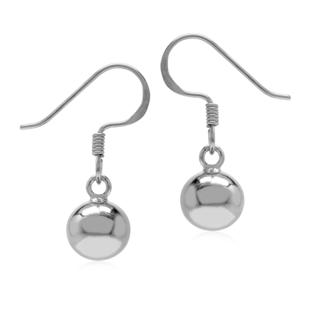 Basic 8 mm Ball 925 Sterling Silver Dangle Hook Earrings
