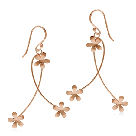 925 Sterling Silver Textured Flower Rose Gold Flash Dangle Hook Earrings