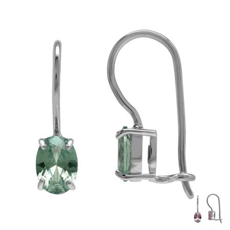 7x5MM Created Color Change Alexandrite July Birthstone 925 Sterling Silver Hook Closure Earrings
