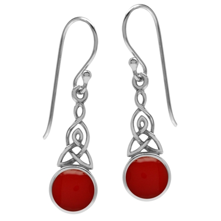 Created Red Coral 925 Sterling Silver Triquetra Celtic Knot Dangle Hook Earrings