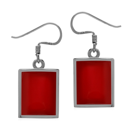 Created Red Coral Inlay 925 Sterling Silver Dangle Hook Earrings