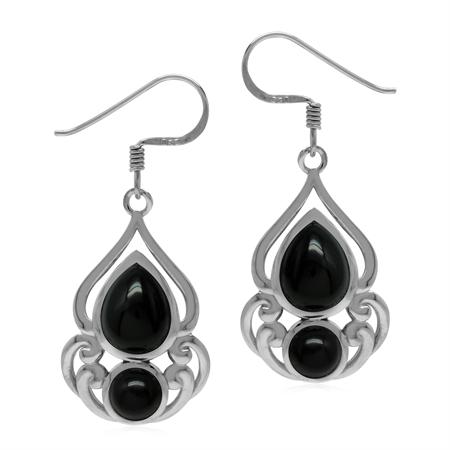 Natural Black Onyx 925 Sterling Silver Victorian Drop Dangle Hook Earrings