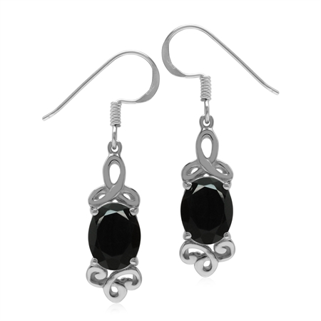 3.6 ct Black Onyx 925 Sterling Silver Triquetra Trinity Celtic Knot Dangle Earrings
