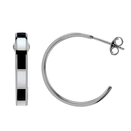 25MM Inlay Black Onyx and White Mother Of Pearl 925 Sterling Silver Flat C Hoop Earrings