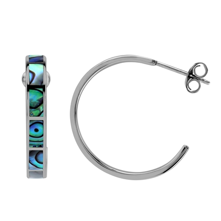 25MM Inlay Abalone Paua 925 Sterling Silver Flat C Hoop Earrings Jewelry for Women