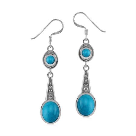 Genuine American Turquoise 925 Sterling Silver Art Deco Dangle Hook Earrings