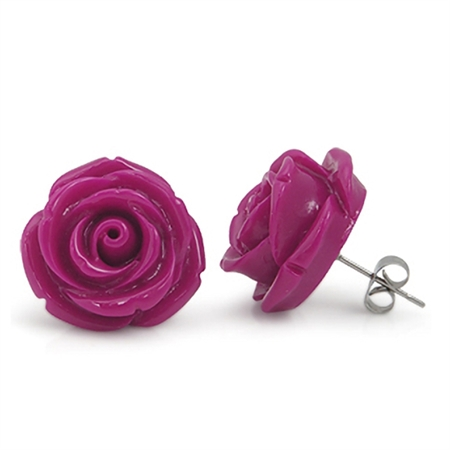 19MM Fuchsia Pink Stainless Steel Plastic ROSE/FLOWER Stud Earrings