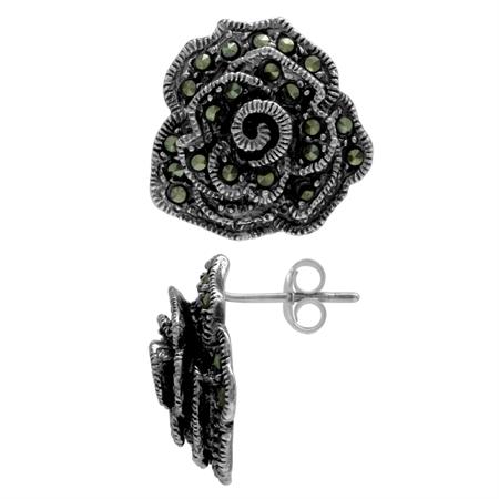 Marcasite Antique Finish 925 Sterling Silver Rose/Flower Post Earrings