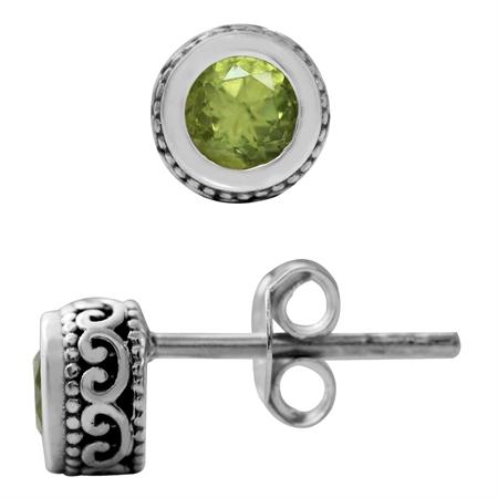 Natural Peridot 925 Sterling Silver Filigree Stud Earrings