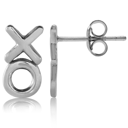 12MMx6MM White Gold Plated 925 Sterling Silver XO Stud/Post Earrings
