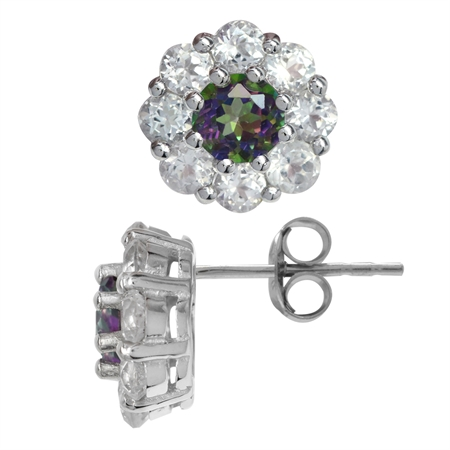 1.32ct. Mystic Fire Topaz White Gold Plated 925 Sterling Silver Flower Cluster Stud/Post Earrings