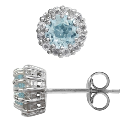Petite 1.2ct. Genuine Blue Topaz White Gold Plated 925 Sterling Silver Flower Cluster Stud Earrings