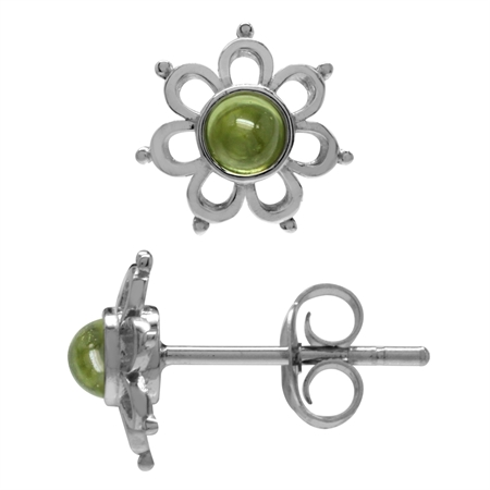 3MM Extra Petite Cabochon Peridot White Gold Plated 925 Sterling Silver Flower Stud Earrings