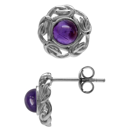 Cabochon Amethyst White Gold Plated 925 Sterling Silver Celtic Knot Stud/Post Earrings