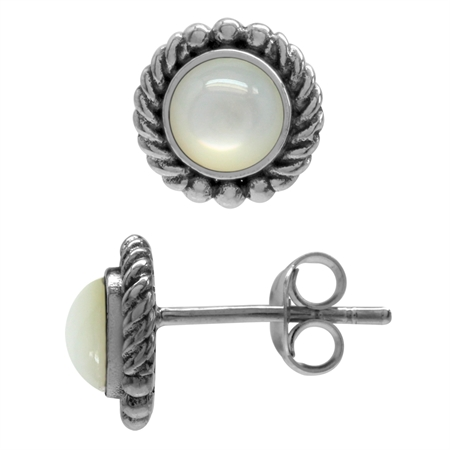 White Mother Of Pearl Antique Finish 925 Sterling Silver Rope Stud Earrings