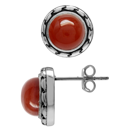 Natural 8MM Carnelian Antique Finish 925 Sterling Silver Stud/Post Earrings