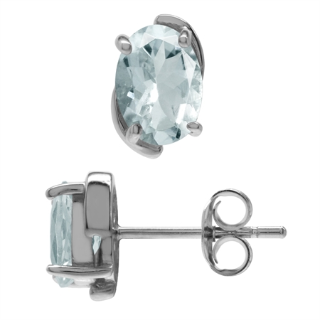 1.26ct. 7x5MM Genuine Oval Shape Aquamarine White Gold Plated 925 Sterling Silver Stud Earrings